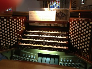The organ console at St. Andrew's Cathedral.