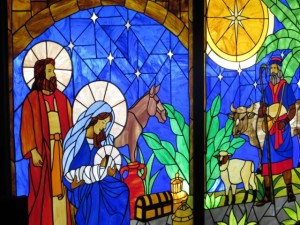 Stained glass window at St. Mark's Honolulu