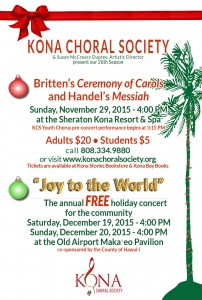 My next gig is with the Kona Choral Society.