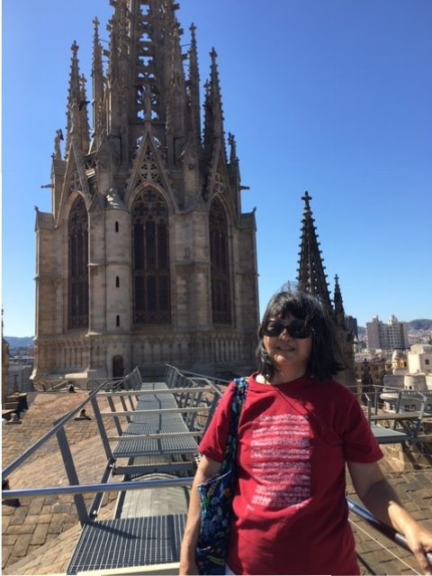 At the top of the Barcelona Cathedral
